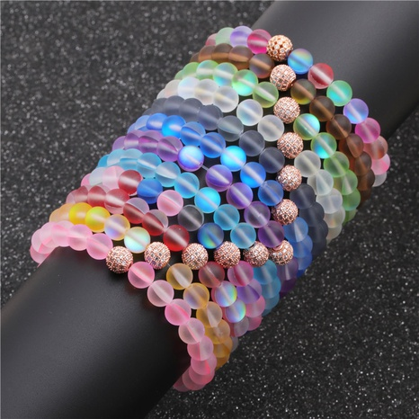 Moonstone Diamond Ball Beaded Bracelet NHYL311206's discount tags