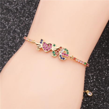 colorful zirconium LOVE palm heart adjustable bracelet  NHYL311229's discount tags