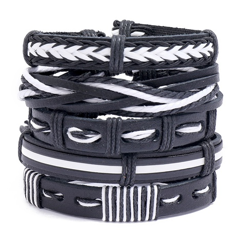 Simple Retro Multilayer Braided Leather Bracelet  NHPK311279's discount tags