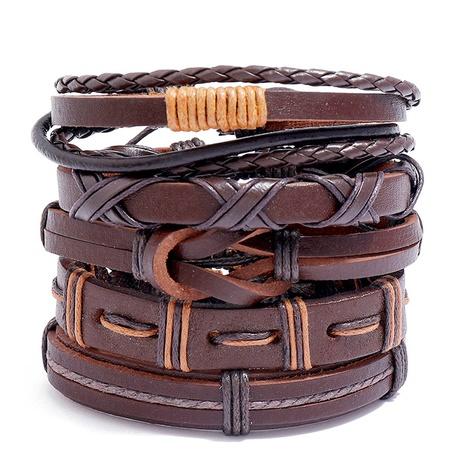 Simple retro woven 5-piece leather bracelet  NHPK311285's discount tags