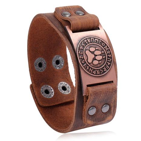 retro Viking totem simple punk leather bracelet  NHPK311313's discount tags