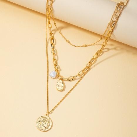 Kreative Retro Perlen Anhänger mehrschichtige Halskette NHQJ311337's discount tags