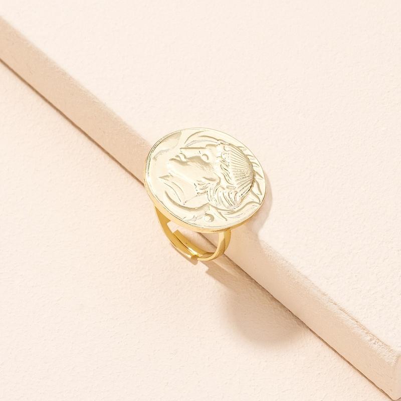 simple fashion star coin portrait ring NHAI311350