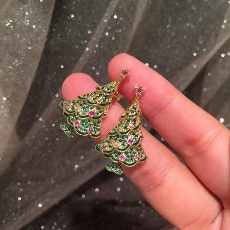 Grüne Weihnachtsbaumohrringe NHWK311432's discount tags