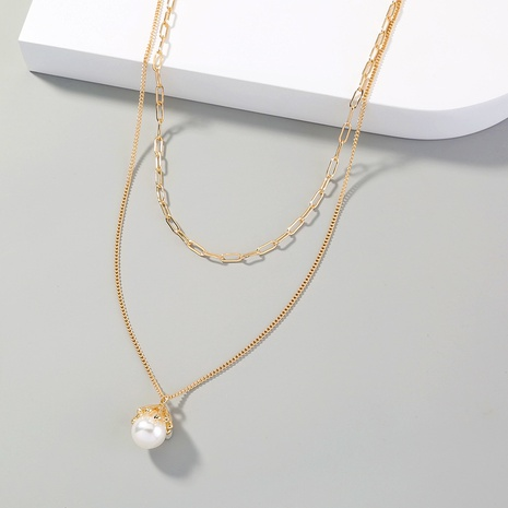 simple pearl pendant fashionable necklace NHAN311435's discount tags