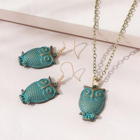 Korean creative popular wild owl necklace earrings suit NHPS311447's discount tags