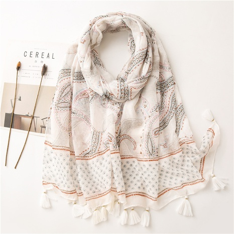 simple new cotton linen white gold powder printing shawl silk scarf  NHGD311736's discount tags
