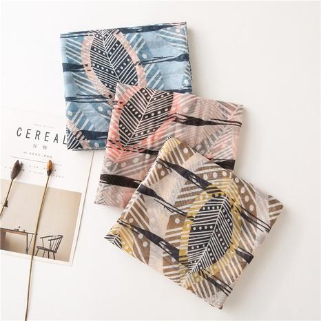 bufanda de seda con estampado de plumas de algodón y lino NHGD311738's discount tags