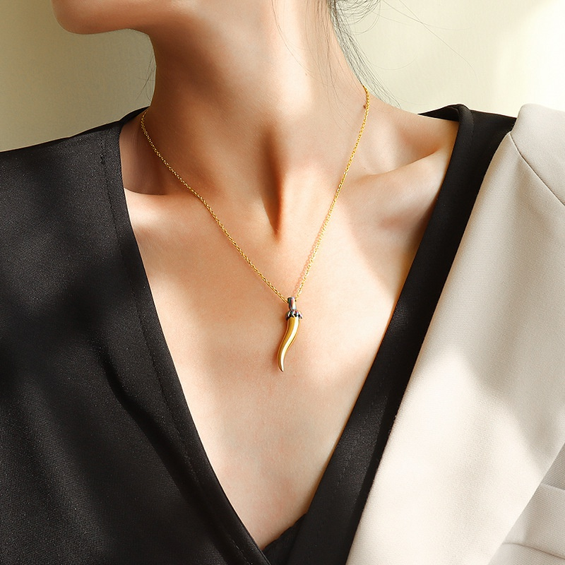 simple wolf tooth pendant necklace NHOK311747