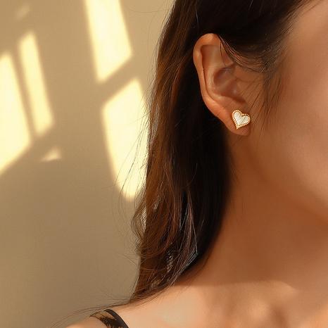 Korea white sea shell peach heart love earrings  NHOK311749's discount tags