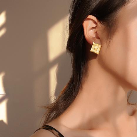 retro line square geometric earrings NHOK311751's discount tags