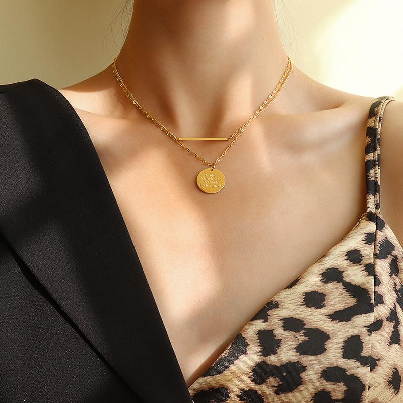 fashion English geometric double layered necklace NHOK311752