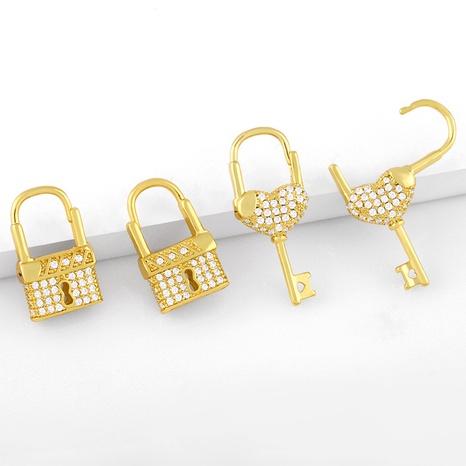 simple new lock diamond earrings NHAS311771's discount tags