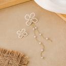 Pearl flower long asymmetric earrings NHMS311779