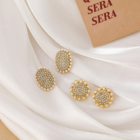 Korean full diamond geometric round earrings  NHMS311780's discount tags