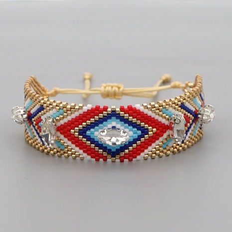 Ethnic Geometry Diamond Zircon Beaded Bracelet NHGW311794's discount tags