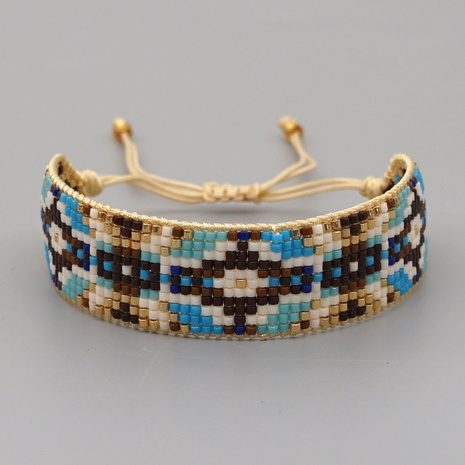 retro ethnic style handmade geometric devil's eye beaded bracelet NHGW311795's discount tags