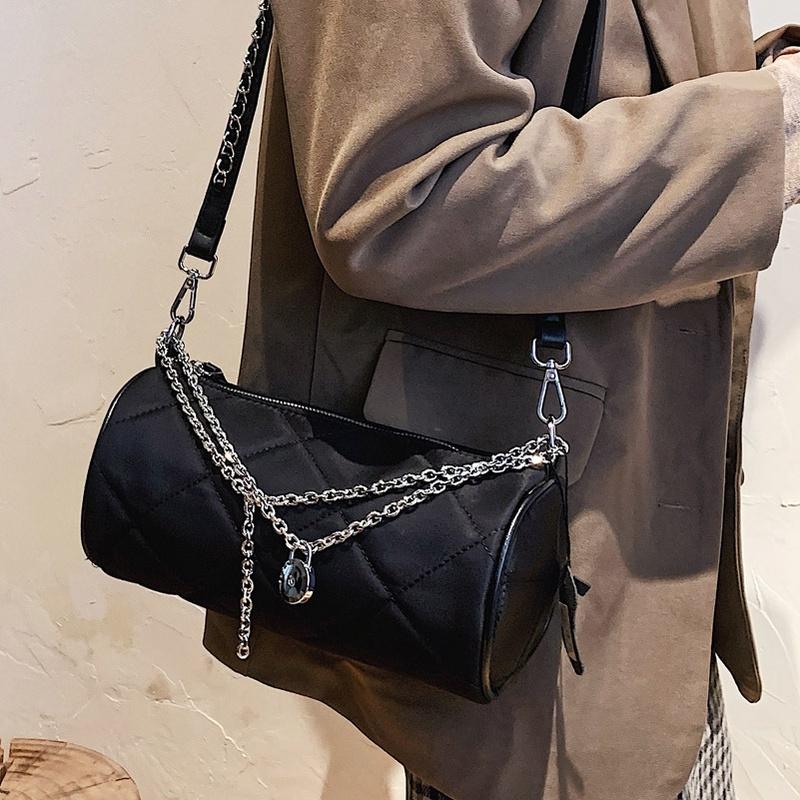 Lingge embroidery thread shoulder underarm bag chain messenger cylinder bag NHLH311807