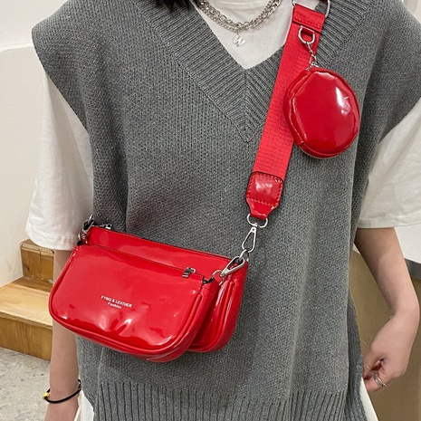 Patent leather retro small square bag  NHLH311841's discount tags