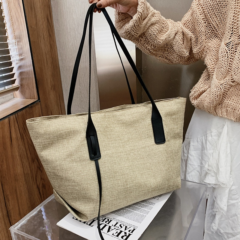 Large capacity tote bag simple casual handbag NHEX311902