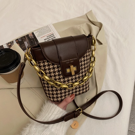 new fashion shoulder houndstooth bucket bag NHJZ312043's discount tags