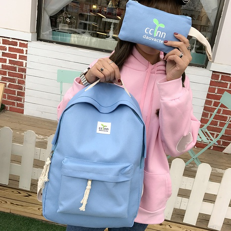 Korean leisure canvas backpack  NHRU312088's discount tags