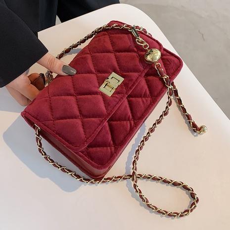fashion velvet shoulder messenger bag  NHLH312163's discount tags
