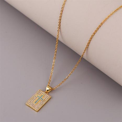 Collar cruzado de circonio con incrustaciones de cobre creativo NHLA312189's discount tags