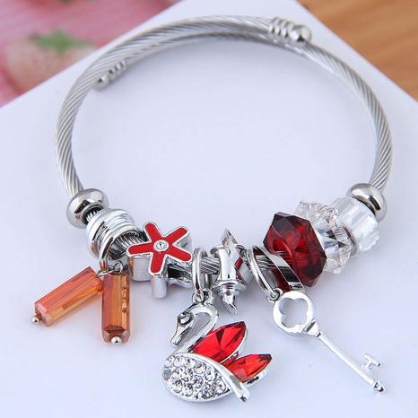 fashion metal simple diamond swan multi-element bracelet NHSC312260's discount tags