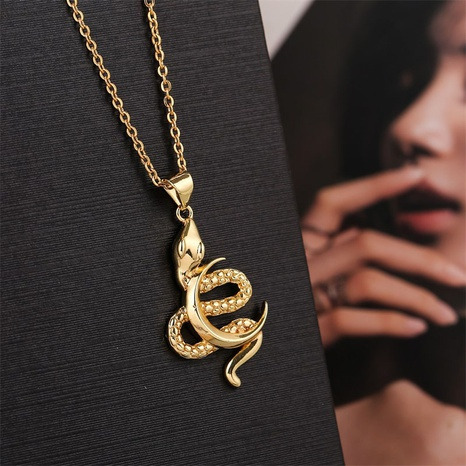 copper zodiac snake moon necklace NHLA312199's discount tags
