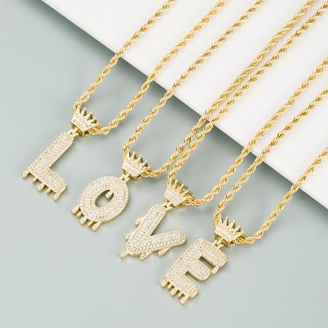 26 englische Buchstaben Krone Mikro-eingelegte Zirkon-Halskette NHLN312222's discount tags