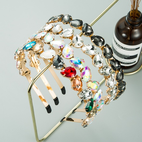 Korean rhinestone alloy thin edge headband  NHLN312223's discount tags