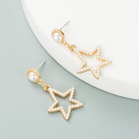 Pearl Fashion Hollow Five-pointed Star Earrings NHLN312226's discount tags