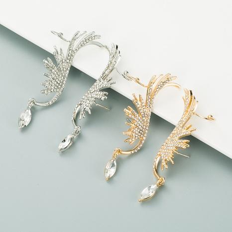 golden angel wings rhinestone earrings NHLN312228's discount tags