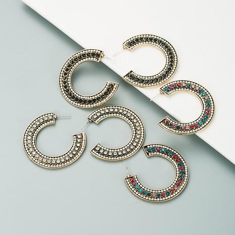Retro C-förmige Bronze Diamantohrringe NHLN312232's discount tags