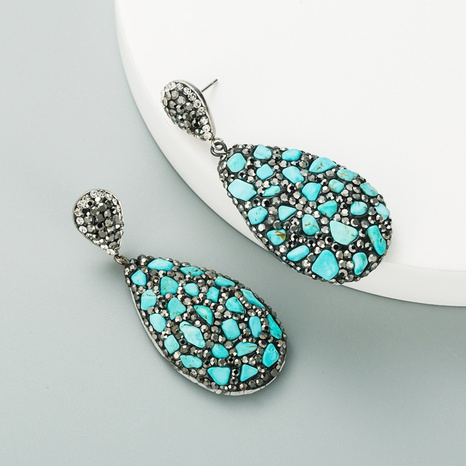 fashion drop-shaped natural stone diamond retro earrings NHLN312236's discount tags