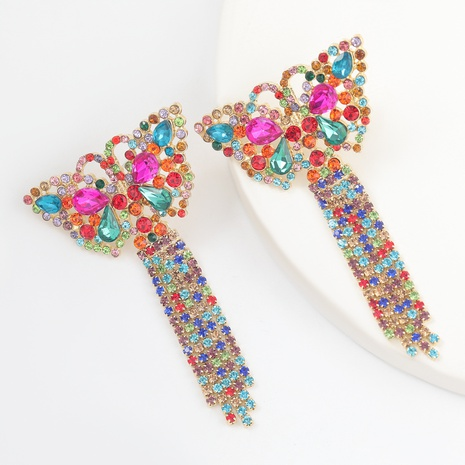 creative alloy rhinestone butterfly tassel earrings  NHJE312283's discount tags