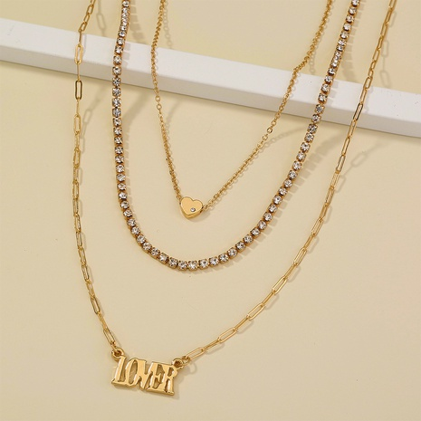 letter lover pendant simple fashion multi-layer necklace  NHAN312291's discount tags
