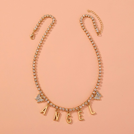 fashion ANGEL letter rhinestone butterfly necklace NHAN312297's discount tags