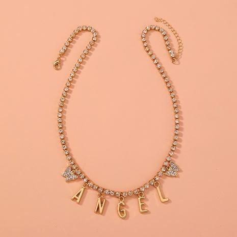Mode Engel Brief Strass Schmetterling Halskette NHAN312297's discount tags