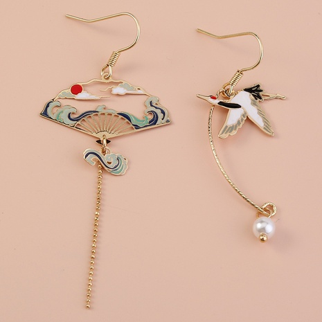 retro elegant crane long earrings NHAN312302's discount tags