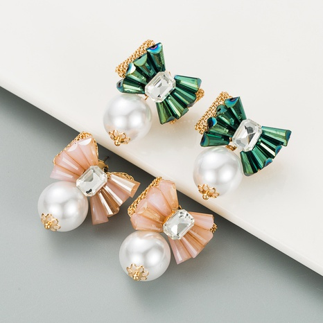 Korean fashion flower pearl crystal earrings NHLN312321's discount tags