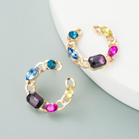 C-förmige Diamant-Retro-Ohrringe aus Aluminium NHLN312322's discount tags