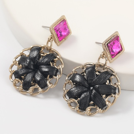 Fashion creative artificial leather flower earrings  NHJE312337's discount tags