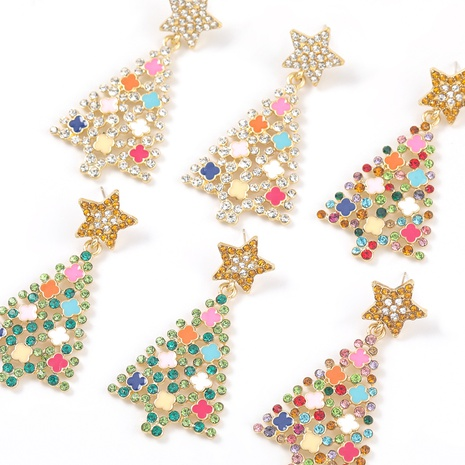 alloy diamond Christmas tree earrings  NHJE312342's discount tags