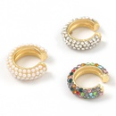 alloy diamond inlaid pearl earring NHJE312343