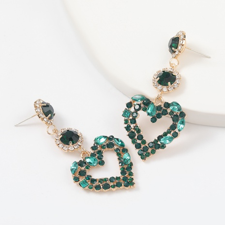 alloy rhinestone heart-shaped earrings  NHJE312344's discount tags