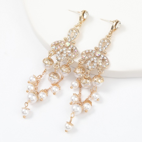 alloy diamond inlaid pearl long earrings NHJE312347's discount tags
