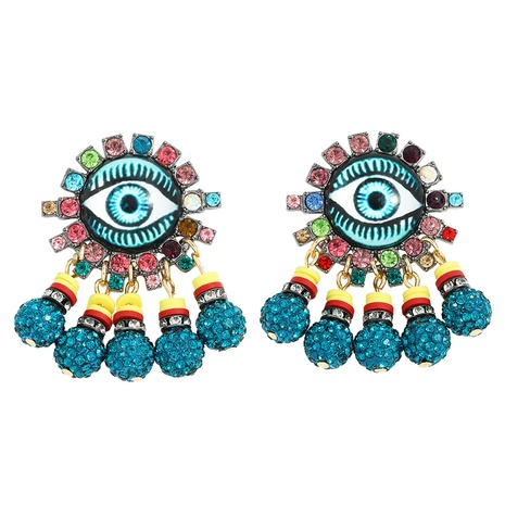 Creative diamond-studded zinc alloy devil's eye earrings NHJQ312356's discount tags