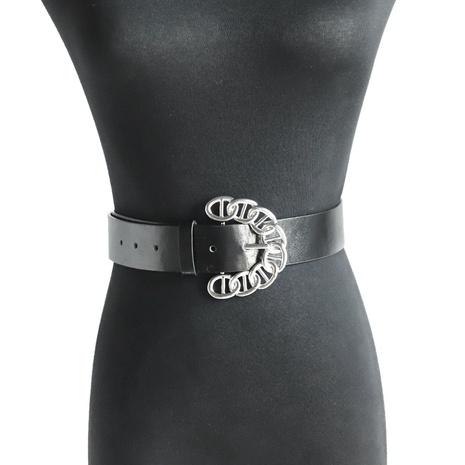 Cinturón grande de piel con hebilla redonda NHJQ312359's discount tags